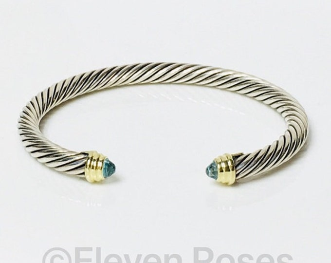 David Yurman Blue Topaz Classic Cable Cuff Bracelet DY 925 Sterling Silver & 585 14k Gold Free US Shipping