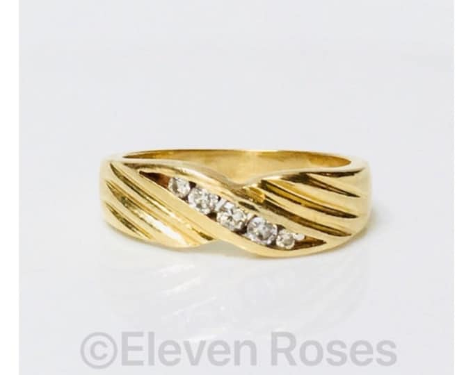 Men's 585 14k Gold Diamond Wedding Band Ring Free US Shipping