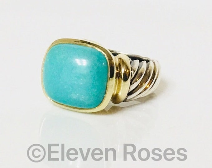 David Yurman Turquoise Noblesse Ring 585 14k Gold DY 925 Sterling Silver Free US Shipping