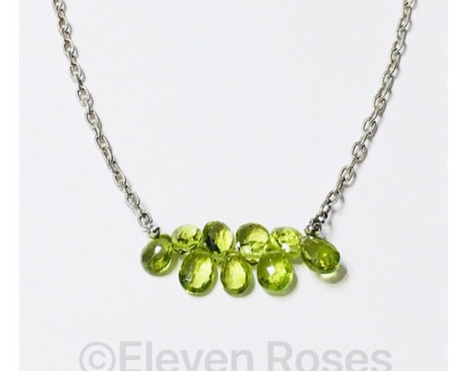 Robin Rotenier Peridot Briolette Gemstone Necklace 925 Sterling Silver Free US Shipping