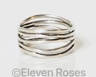dec977653 Tiffany & Co. Elsa Peretti Five Row Wave Ring 925 Sterling Silver Free US  Shipping