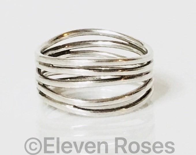 Tiffany & Co. Elsa Peretti Five Row Wave Ring 925 Sterling Silver Free US Shipping