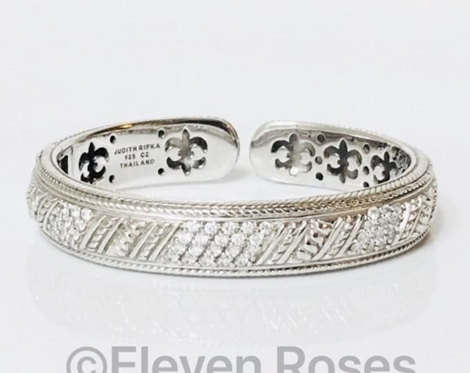 Retired Judith Ripka Classic Diamonique Hinged Bangle Cuff Statement Bracelet 925 Sterling Silver Free US Shipping