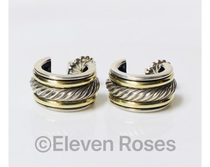 David Yurman Classic Cable Huggie Hoop Earrings 925 Sterling Silver 585 14k Gold Free US Shipping