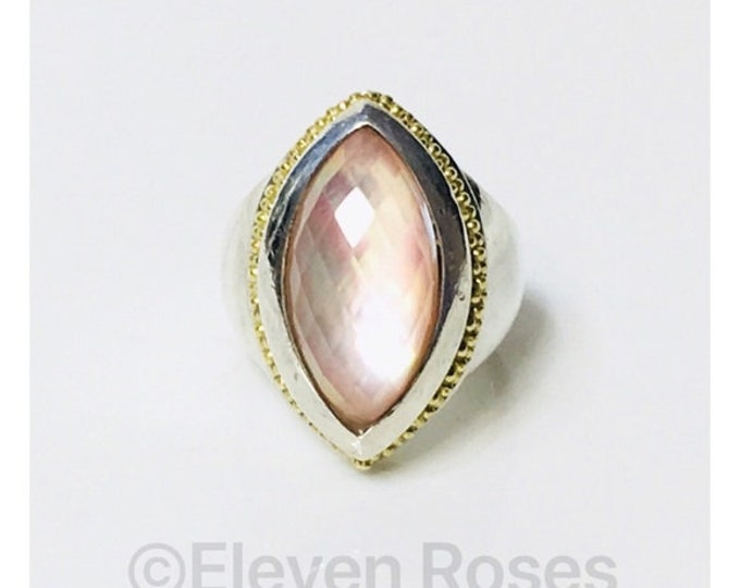 Lagos Caviar Venus Mother Of Pearl Cocktail Statement Ring 925 Sterling Silver 750 18k Gold Free US Shipping