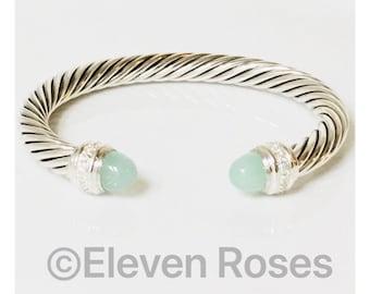 For Susan David Yurman 7mm Aqua Chalcedony & Diamonds Cable Cuff Bracelet 925 Sterling Silver Free US Shipping