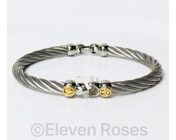 Mens ALOR Logo Steel Cable Bangle Bracelet 750 18k Gold Free US Shipping
