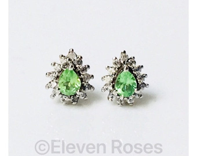 Peridot White Topaz Gemstone Halo Stud Earrings 925 Sterling Silver Free US Shipping