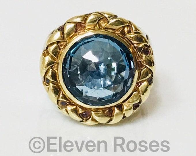 Saint Sarah Jane Blue Topaz Extra Large Ring Statement Cocktail 925 Sterling Silver 750 18k Gold Large Statement Size 7
