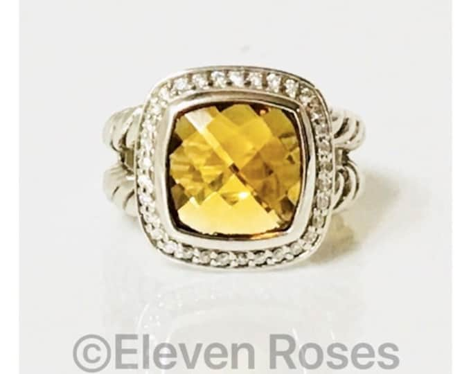 David Yurman Golden Citrine & Diamond Albion Ring 925 Sterling Silver Free US Shipping