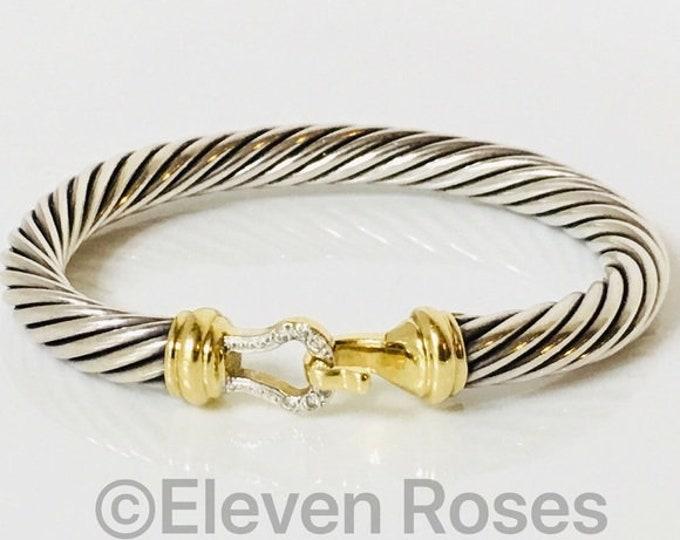 David Yurman Classic Cable 7mm Diamond Buckle Bangle Bracelet DY 925 Sterling Silver 750 18k Gold Free US Shipping