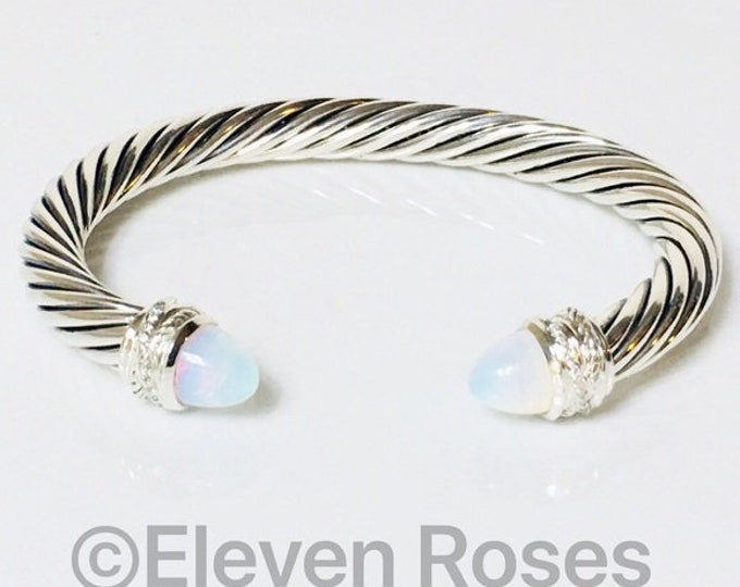 David Yurman 7mm Moonstone & Diamond Cable Crossover Cuff Bracelet DY 925 Sterling Silver Free US Shipping
