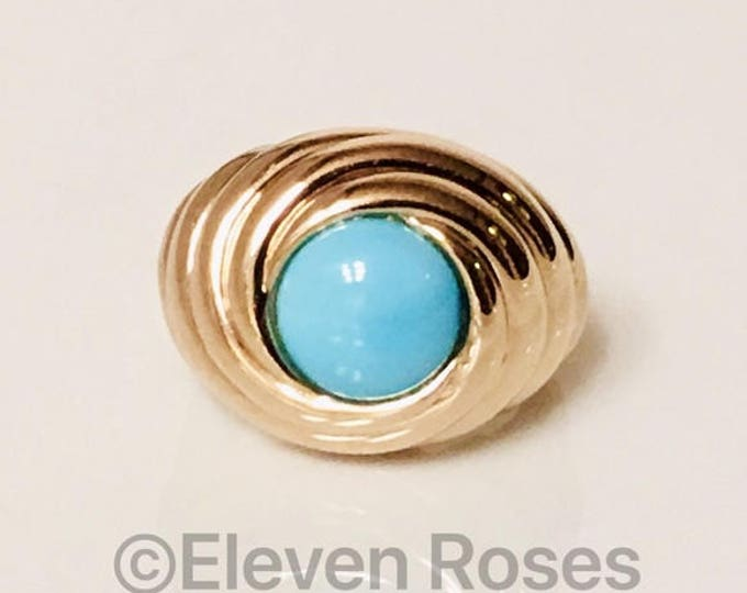 Extra Large 585 14k Gold & Turquoise Cabochon Turban Swirl Statement Ring Free US Shipping
