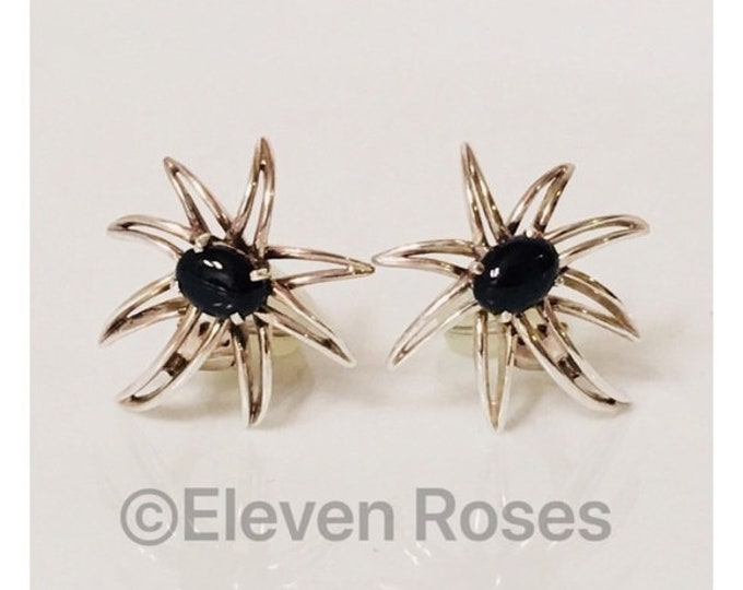 Tiffany & Co. Large Black Onyx Fireworks Earrings 925 Sterling Silver Free US Shipping