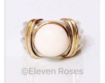 Designer Two Tone 925 Sterling Silver 750 18k White Agate Button Wide Statement Ring Yellow Gold Free US Shipping