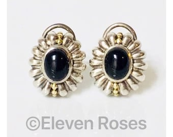 Vintage Lagos Caviar Black Onyx Earrings 925 Sterling Silver 750 18k Gold Free US Shipping