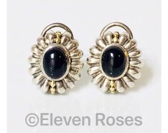 Vintage Lagos Caviar Black Onyx Earrings 925 Sterling Silver 750 18k Gold Free US Shipping