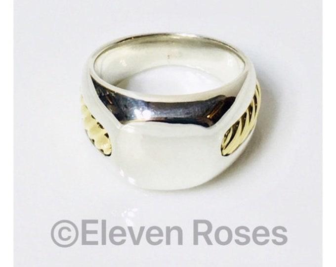 Men's David Yurman Inset Cable Monogram Signet Ring Thoroughbred 750 18k Gold & 925 Sterling Silver Free US Shipping