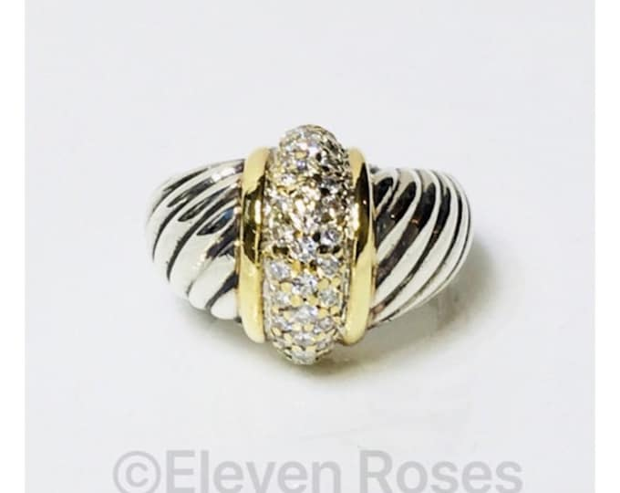 David Yurman Classic Cable Diamond Dome Statement Ring 925 Sterling Silver 585 14k Gold Free US Shipping