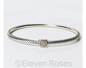 David Yurman Square Diamond Station Confetti Cable Bangle Bracelet DY 925 Sterling Silver Free US Shipping