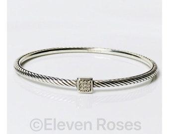 David Yurman Square Diamond Station Confetti Cable Bangle Bracelet DY 925 Sterling Silver Free US Shipping