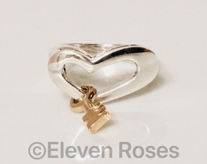 Movado Heart Key Dangle Ring 925 Sterling Silver & 750 18k Gold Free US Shipping