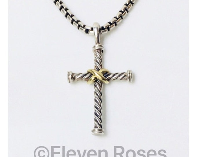 David Yurman Classic Cable Cross Pendant & Box Chain Necklace 925 Sterling Silver 750 18k Gold Free US Shipping