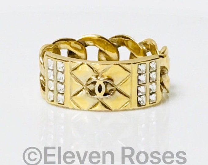 CHANEL Metallic Quilted CC Crystal Chain Link Band Ring US Shipping