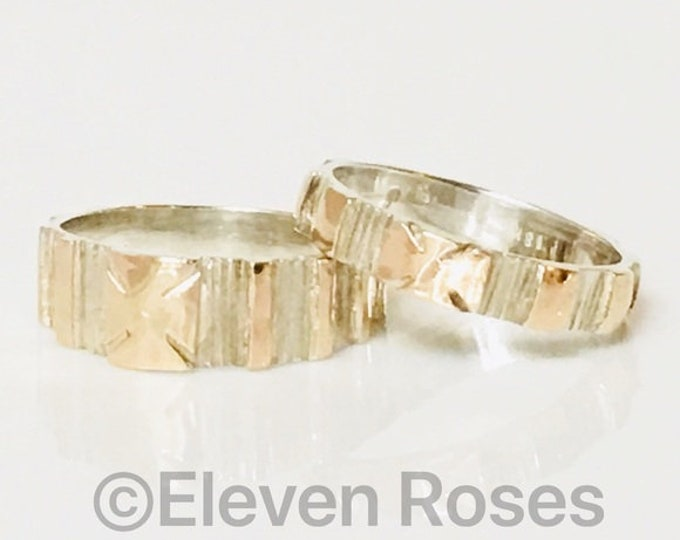 Pair Set Of 2 Band Rings Bark Texture 925 Sterling Silver & 750 18k Gold Free US Shipping