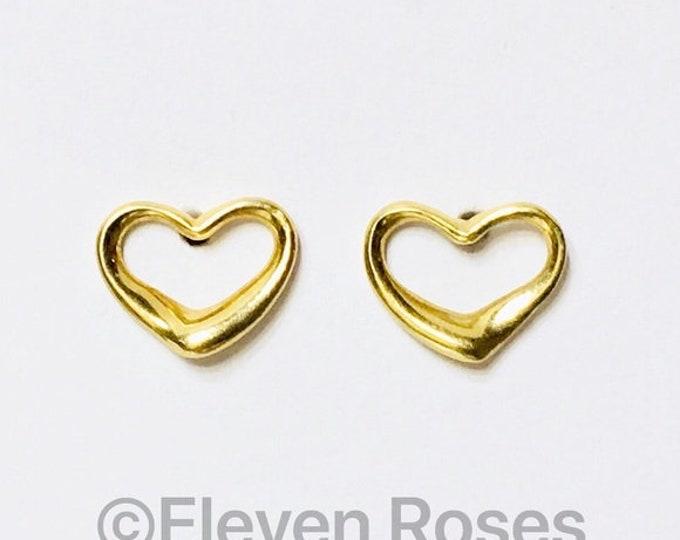 Tiffany & Co. 18k Open Heart Earrings Elsa Peretti 750 Gold Free US Shipping