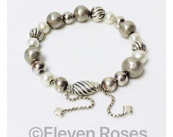 David Yurman Elements Adjustable Pearl Bead Box Chain Bracelet DY 925 Sterling Silver Free US Shipping