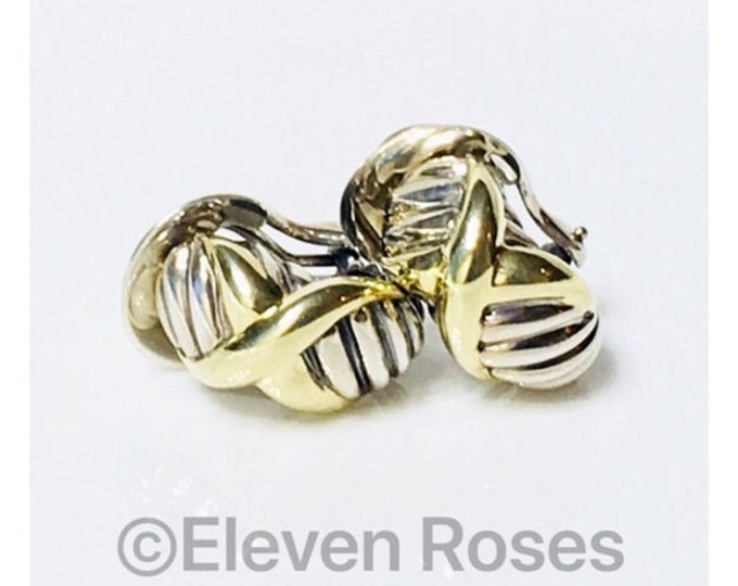 David Yurman Classic Cable X Crossover Huggie Hoop Earrings DY 925 Sterling Silver 585 14k Yellow Gold XL Extra Large
