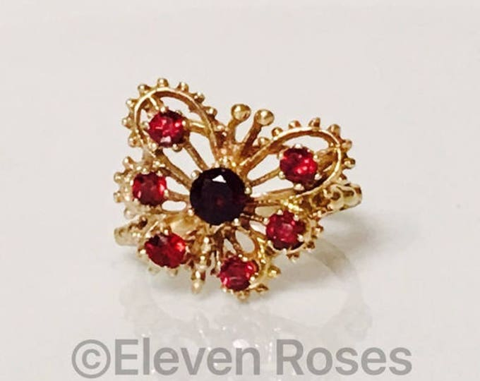585 14k Yellow Gold Multi Garnet Gemstone Butterfly Ring Free US Shipping