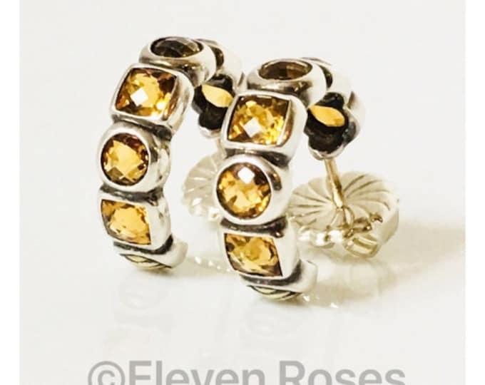 David Yurman Chiclet Citrine Hoop Earrings 925 Sterling Silver & 750 18k Gold Free US Shipping