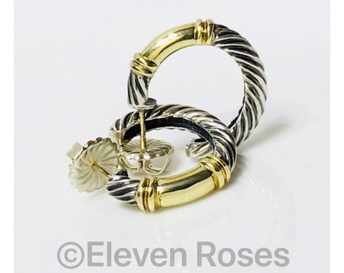 David Yurman Classic Cable Metro Hoop Earrings DY 925 Sterling Silver 585 14k Gold Free US Shipping