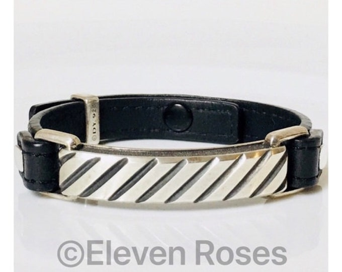 David Yurman Men's Sterling Silver Black Leather Modern Cable ID Bracelet DY 925 Free US Shipping