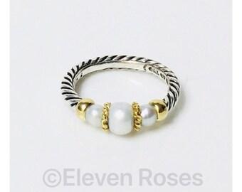 David Yurman Three Pearl Ring DY 925 Sterling Silver 750 18k Yellow Gold Free Shipping