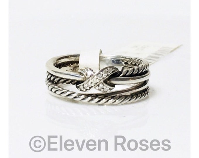 David Yurman Diamond X Cable Crossover Ring DY 925 Sterling Silver Free US Shipping