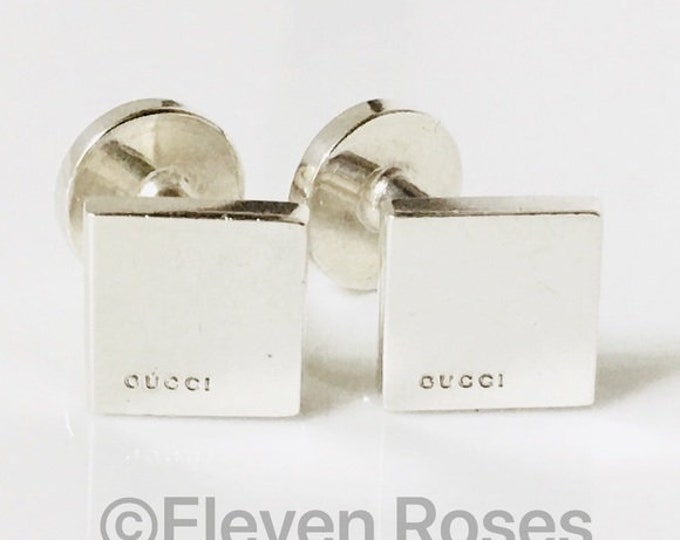 Gucci Square Cufflinks Cuff Links  925 Sterling Silver Free US Shipping