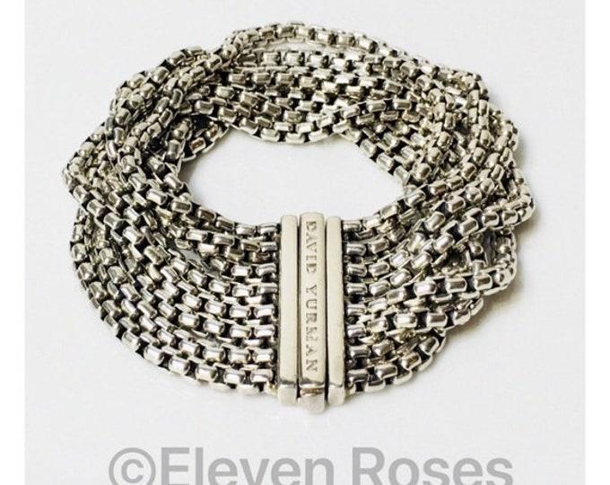 David Yurman Multi Row Box Chain Bracelet DY 925 Sterling Silver Free US Shipping