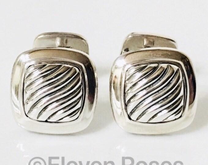 David Yurman Classic Cable Cufflinks Cuff Links DY 925 Sterling Silver Free US Shipping