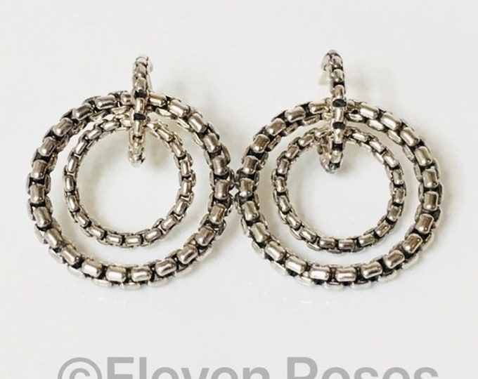David Yurman Large Box Chain Double Circle Hoop Earrings 925 Sterling Silver Free US Shipping