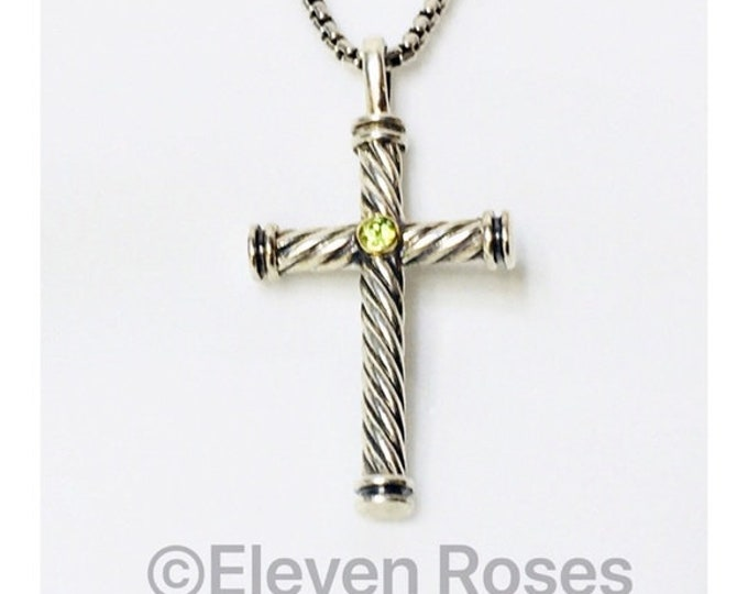 David Yurman Peridot Cable Cross Pendant & Box Chain Necklace 925 Sterling Silver 750 18k Gold Free US Shipping