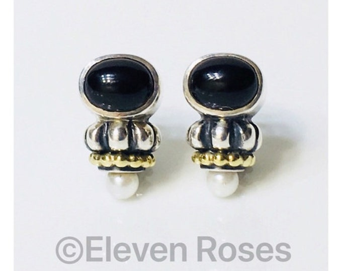 Vintage Classic Lagos Caviar Black Onyx Pearl Earrings 925 Sterling Silver 750 18k Gold Free US Shipping