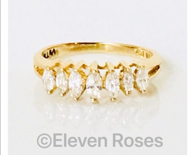 Ladies 585 14k Gold Marquise Diamond Anniversary Ring Wedding Band Free US Shipping