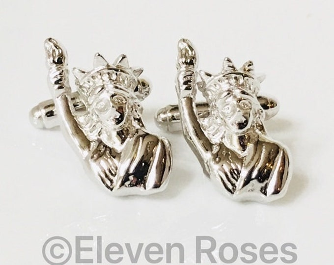 New York Statue Of Liberty Cufflinks Cuff Links 925 Sterling Silver Free US Shipping