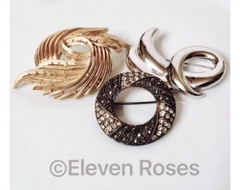 Vintage Brooch Lot Of 3 Trifari Napier 925 Sterling Silver Gold Marcasite Stones Free US Shipping