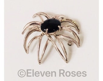 Tiffany & Co. Large Black Onyx Fireworks Brooch 925 Sterling Silver Free US Shipping