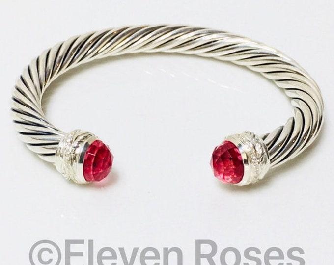 David Yurman 7mm Cuff Pink Tourmaline & Diamond Cable Crossover Bracelet 925 Sterling Silver Free US Shipping