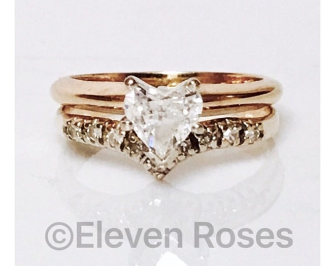 585 14k Gold .58 Carat Diamond Heart Cut Solitaire Promise  Engagement  Wedding Ring Free US Shipping